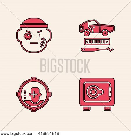 Set Safe, Bandit, Car Theft And Headshot Icon. Vector