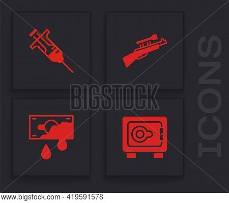 Set Safe, Syringe, Sniper Rifle With Scope And Bloody Money Icon. Vector