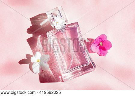 A Perfume Bottle And A Flower On A Pink Background . Smell. Aromatherapy. Pink Violet. Pink Backgrou