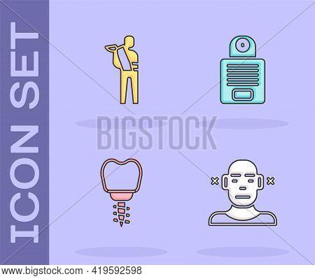 Set Deaf, Human Broken Arm, Dental Implant And Intercom Icon. Vector