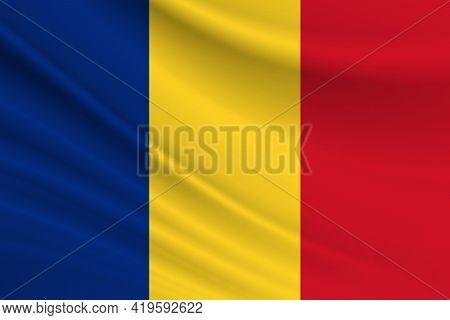 Flag Of Romania. Fabric Texture Of The Flag Of Romania.