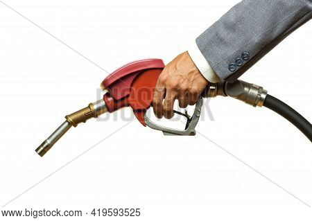 Holding Red Fuel Pump Isolated On White Background
