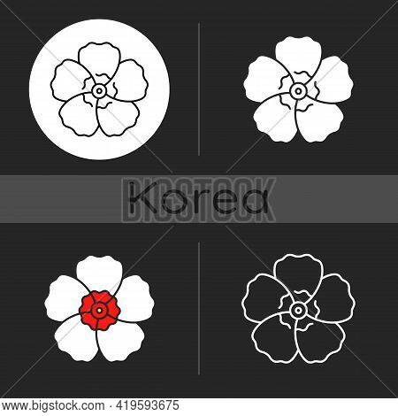 Hibiscus Syriacus Dark Theme Icon. Rose Of Sharon. Chinese, Indian Flower. Exotic Bloom. Tropical Bl