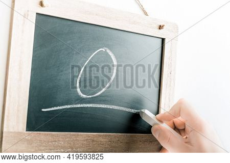 Number 0 Handwritten With Chalk On A Blackboard