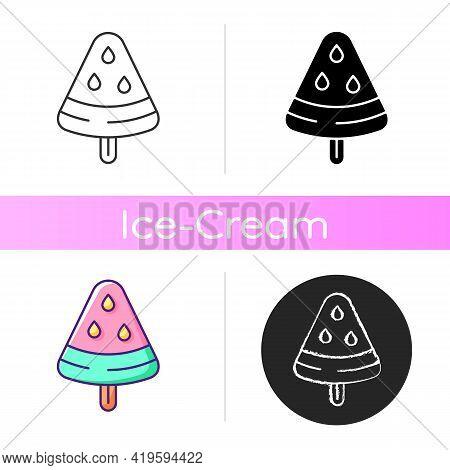 Vegan Frozen Treat Icon. Watermelon On Stick. Popsicles. Non-cow Milk Ingredients. Dairy-free Ice Cr
