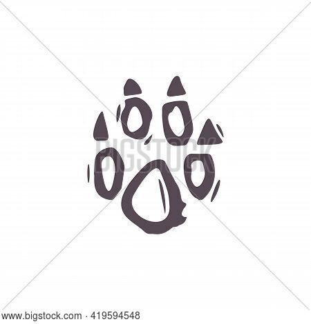 Hand Carved Bold Block Print Fox Paw Icon Clip Art. Folk Illustration Design Element. Modern Boho De