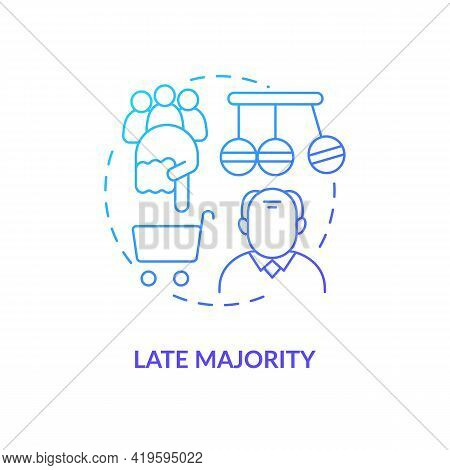 Late Majority Concept Icon. Product Adopter Idea Thin Line Illustration. Caution Before Product Comm