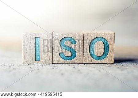 Iso Written On Wooden Blocks On A Board