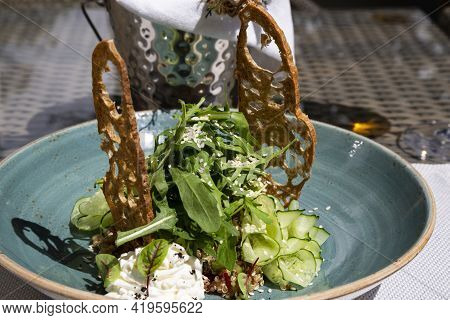 Vegetarian Salad With Quinoa Seeds, Italian Cuisine, Haute Cuisine In The Restaurant, Unusual And Fo