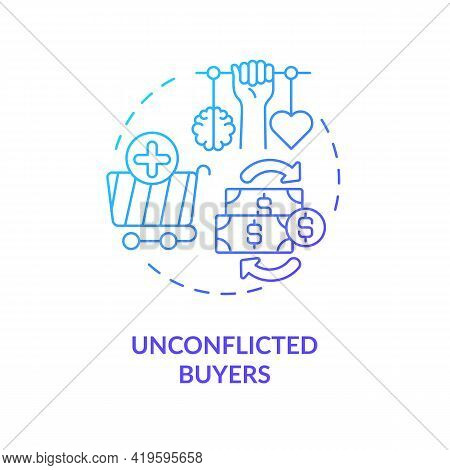 Unconflicted Buyers Concept Icon. Buyer Type Idea Thin Line Illustration. Average Consumer. Consciou