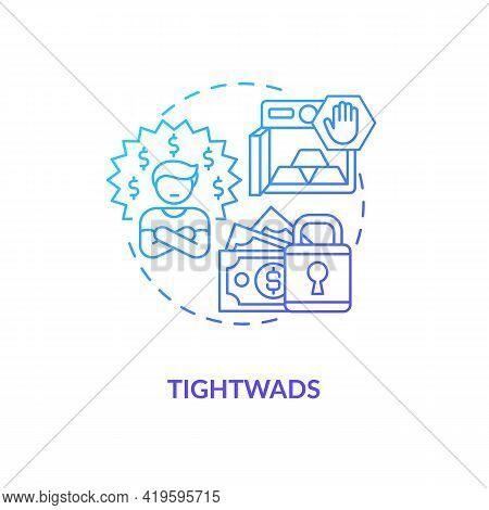 Tightwads Concept Icon. Tight-fisted Consumer Idea Thin Line Illustration. Spending Money To Essenti