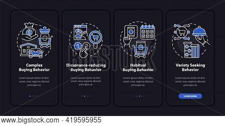 Customer Behavior Types Onboarding Mobile App Page Screen With Concepts. Habitual Behaviour Walkthro