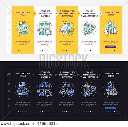 Career Change Steps Onboarding Vector Template. Responsive Mobile Website With Icons. Web Page Walkt