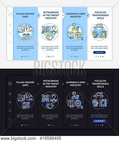 Transition Job Pros Onboarding Vector Template. Responsive Mobile Website With Icons. Web Page Walkt