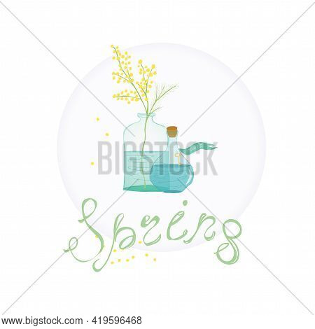 Magic Spring. Still Life With Bouquet Of Mimosa In Bottle And Magic Potion. Spring Mood Illustration