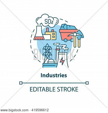 Industries Concept Icon. Outdoor Air Pollutant Idea Thin Line Illustration. Industrial Pollution. Fo