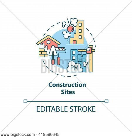 Construction Sites Concept Icon. Outdoor Air Pollutant Idea Thin Line Illustration. Noise Pollution.
