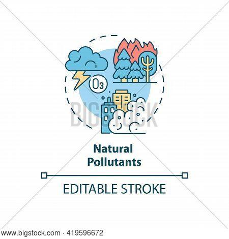 Natural Pollutants Concept Icon. Outdoor Air Pollutant Idea Thin Line Illustration. Natural Origin S