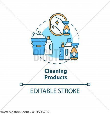Cleaning Products Concept Icon. Indoor Air Pollution Idea Thin Line Illustration. Household Cleaners