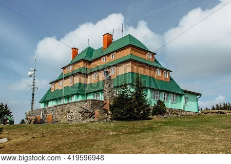 Tourist Masaryk Chalet On Serlich Peak At 1,019 Metres Above Sea,orlicke Mountains,czech Republic.it