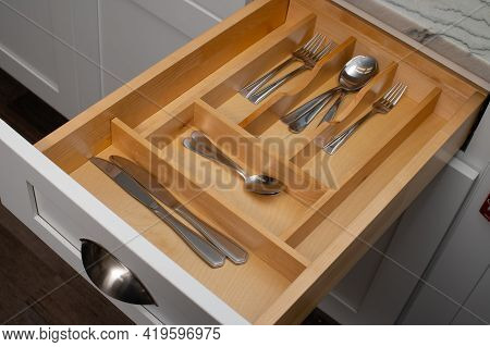 Open Kitchen Drawers With Silverware Modern Open