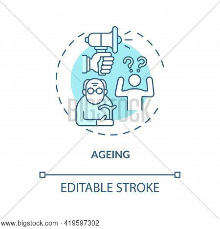 Ageing Concept Icon. Hearing Loss Cause Idea Thin Line Illustration. Age-related Deafness. Presbycus