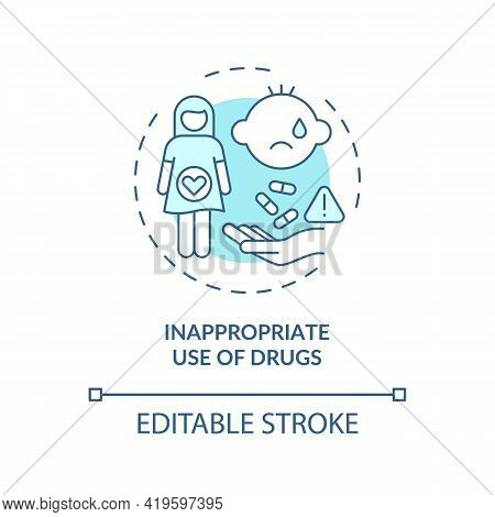 Inappropriate Drugs Use Concept Icon. Congenital Hearing Loss Cause Idea Thin Line Illustration. Ina