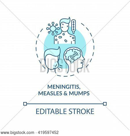 Meningitis, Measles And Mumps Concept Icon. Acquired Hearing Loss Idea Thin Line Illustration. Infec