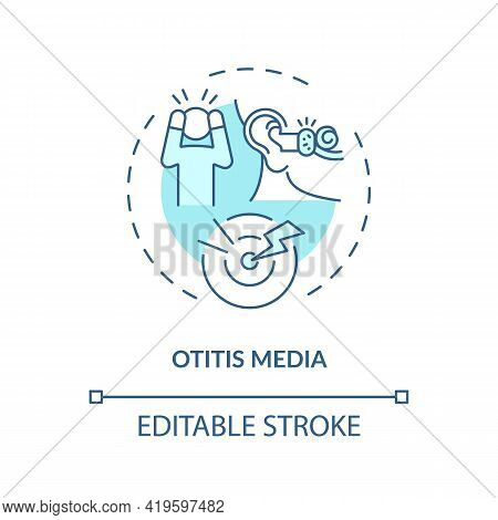 Otitis Media Concept Icon. Acquired Hearing Loss Idea Thin Line Illustration. Acute Pain. Viral Uppe