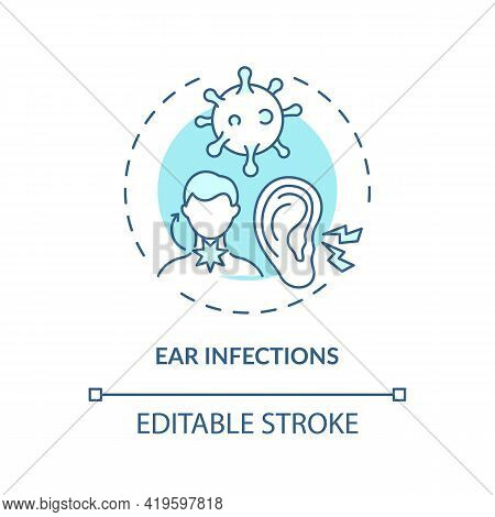 Ear Infections Concept Icon. Acute Otitis Media Idea Thin Line Illustration. Inflammation, Fever. Pa