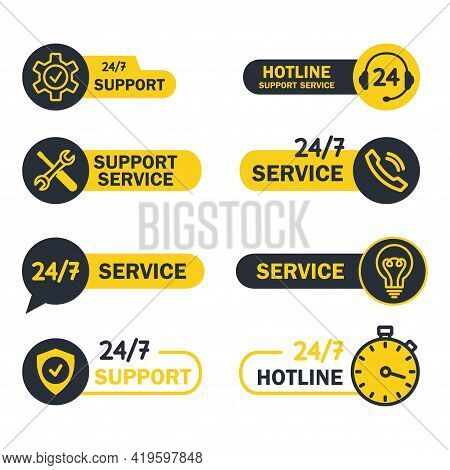 Online Global Technical Support 24 On 7 Buttons. Help And Support Hotline Buttons. Symbols For Assis