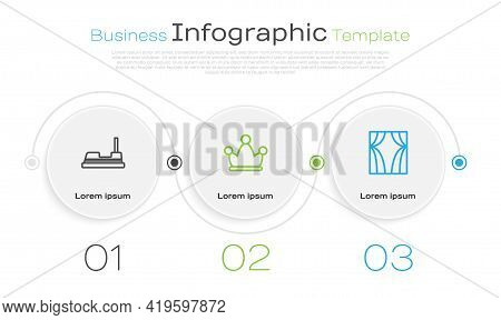 Set Line Bumper Car, Jester Hat With Bells And Circus Curtain Raises. Business Infographic Template.