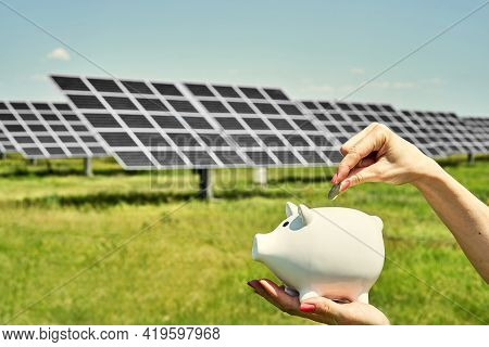 Array Of Polycrystalline Silicon Solar Cells In Solar Power Plant Turn Up