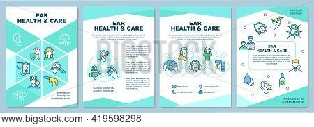 Ear Health And Care Brochure Template. Gently Cleaning Ears. Flyer, Booklet, Leaflet Print, Cover De