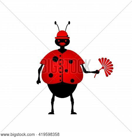 Vector Illustration Of A Ladybug Fashionista In A Hat With A Flower In Her Hands. Cartoon. Flat Desi