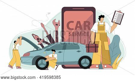 Online Car Service. Application For Car Service And Repair. Fulltime Service. Repairmen With Tools A