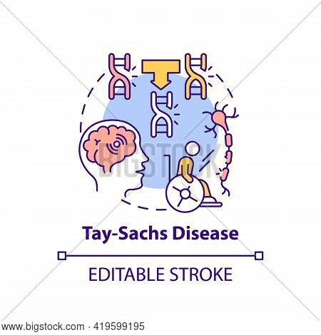 Tay Sachs Disease Concept Icon. Problem With Nerve Cells. Inherited Illness. Genetic Disorder Idea T