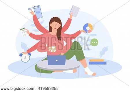 Young Business Woman With Multitasking Skills Sitting At Her Laptop Holding Office Icons. Office Wor