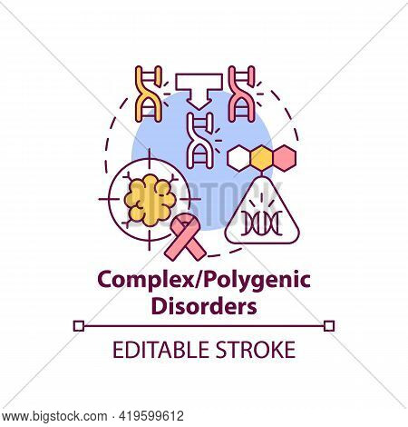 Complex, Polygenic Disorders Concept Icon. Combined Genes As Cause Of Illness. Genetic Disease Idea