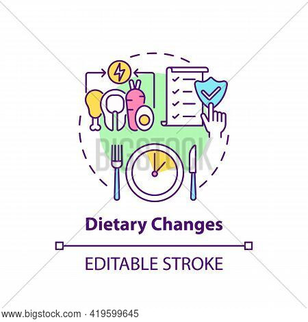 Dietary Changes Concept Icon. Healthy Lifestyle. Eating Program. Nutrient Food. Genetic Disease Trea