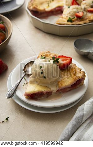 Strawberry Tart, Homemade Pie Filled With Fresh Strawberries, Served With Ice Cream Scoops, Top View