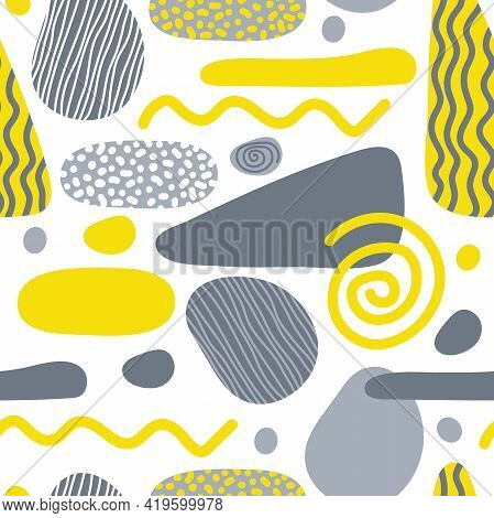 Gray Yellow Abstract Geometrical Shape Seamless Pattern. Hand Drawn Textured Various Shapes Backgrou