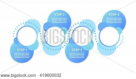 Instructional Progression Vector Infographic Template. Blue Presentation Design Elements With Text S