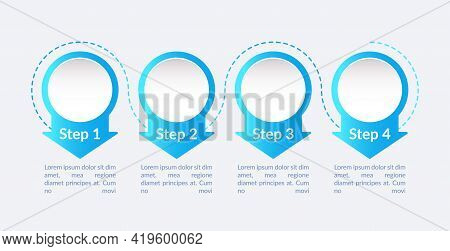 Commercial Vector Infographic Template. Blue Circular Presentation Design Elements With Text Space.