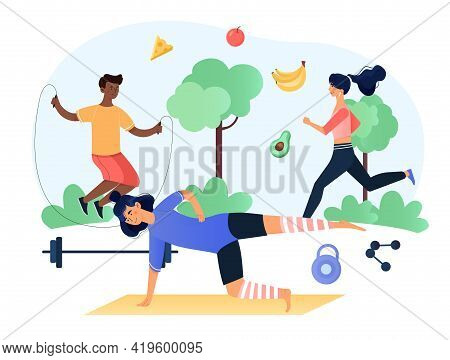People Performing Sports Activities And Execising Outdoors And Wholesome Food. Healthy Habits, Fitne