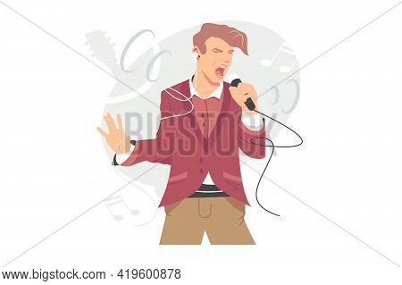 Man Singing Song With Mic Vector Illustration. Live Concert, Party Event, Band Vocalist, Music Perfo
