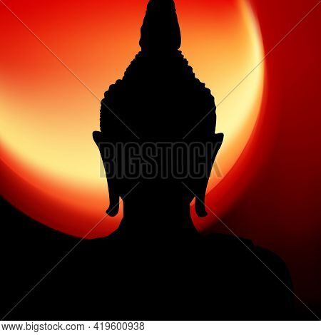 Buddha head silhouette at sundown