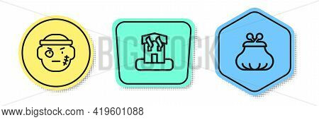 Set Line Bandit, Arson Home And Wallet. Colored Shapes. Vector