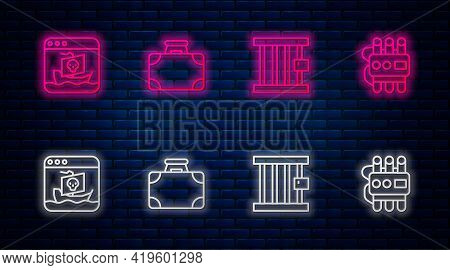 Set Line Briefcase And Money, Prison Window, Internet Piracy And Dynamite Timer Clock. Glowing Neon