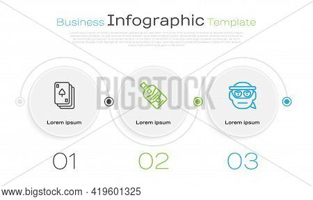 Set Line Playing Cards, Whiskey Bottle And Bandit. Business Infographic Template. Vector